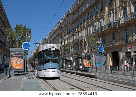 Marseille, France, October 2, 2014 : Tramway In Marseilles City Center. Marseilles Is The 3Rd-larges