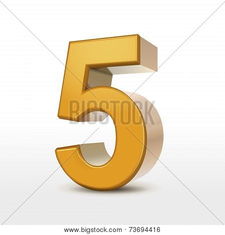 Golden 3D Number 5