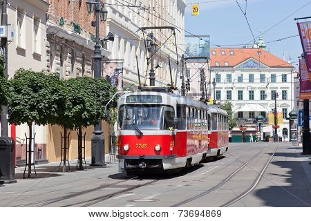 Czech tram in historical the center of Prague