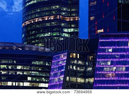 Moscow International Business Center Moscow-City of night