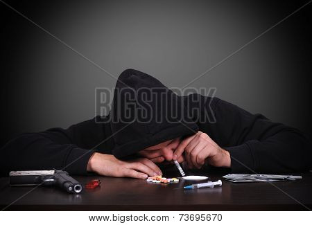 Man Sniffing Cocaine
