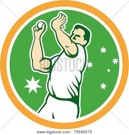 Australian Cricket Fast Bowler Bowling Ball Circle Cartoon
