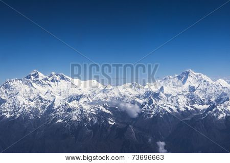 Aerial view of Everest and Makalu