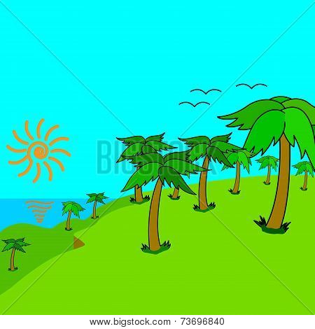 Tropical palms on the tropical island at sunset. Vector illustra