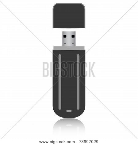 Black flash drive isolated on the white background. Vector illus