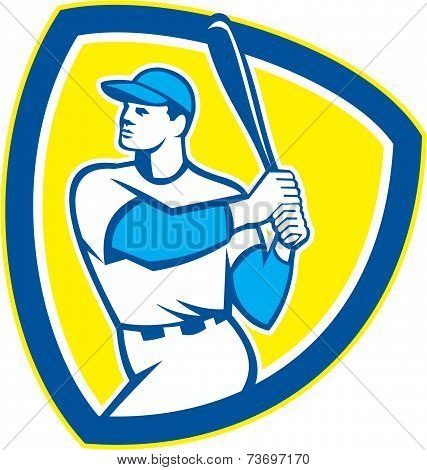 Baseball Batter Hitter Bat Shield Retro