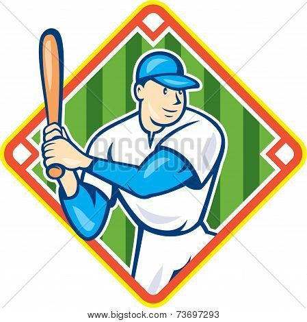 American Baseball Player Batting Diamond Cartoon