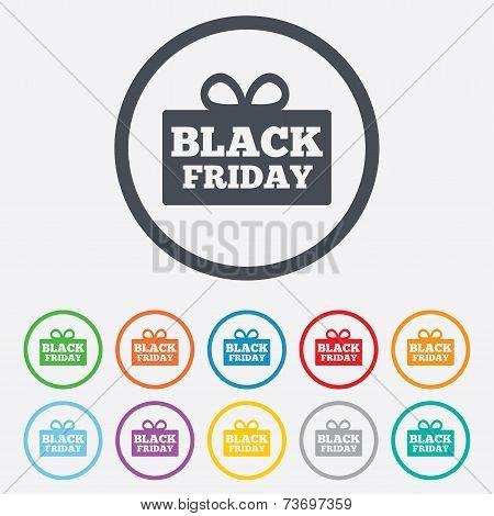 Black friday gift sign icon. Sale symbol.