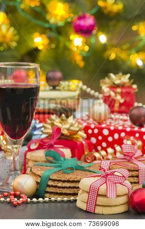 Christmas Gifts, Biscuit Cookies and Red Wine