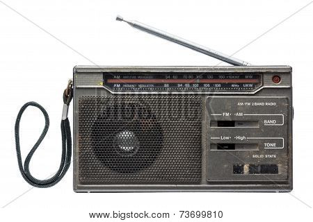 Old Transistor Radio Isolated On White Background.