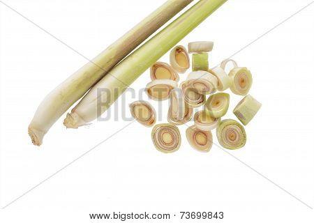 Fresh Lemongrass Sliced On White Background