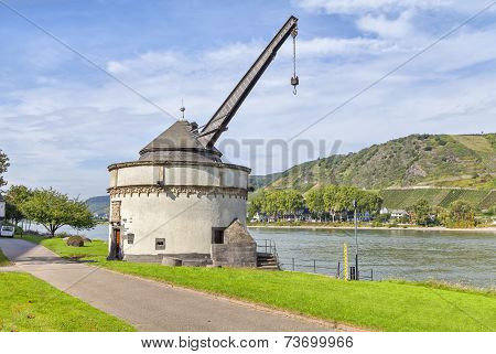 Old Shipping Crane In Andernach On Rhine River