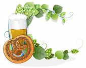 stock photo of pretzels  - Pretzel and a glass of beer with hop branches on white a background - JPG