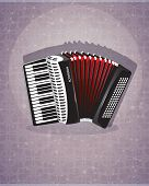 stock photo of accordion  - Black accordion with red bellows on an abstract background - JPG