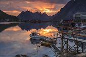stock photo of reining  - Reine picturesque fishing village on Lofoten Norway - JPG