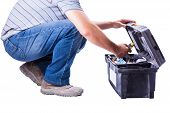 stock photo of locksmith  - man with tool box isolated on white background - JPG