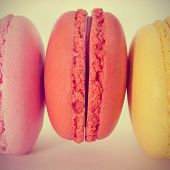 picture of flavor  - closeup of some appetizing macarons with different colors and flavors - JPG