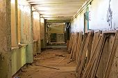 picture of framing a building  - Old and abandoned room of a building and window frames