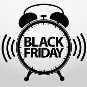 stock photo of friday  - Black friday alarm clock icon vector illustration - JPG