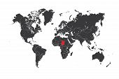 picture of chad  - A Map of the world with a selected country of Chad - JPG