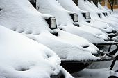stock photo of ski-doo  - SnowMobiles up for Departure in Lapland - JPG
