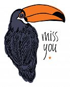 image of miss you  - Miss you design card with tropical bird - JPG