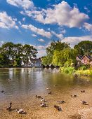 foto of avon  - Hot Sunny day on the River Avon looking towards the bridge arches of Fordingbridge - JPG