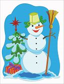picture of snowmen  - Cheerful snowman standing by the Christmas tree with a gift - JPG