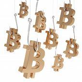 stock photo of bitcoin  - Many symbols bitcoin of gold on fishing hooks isolated on white backgroundA lot symbols bitcoin of gold on fishing hooks - JPG