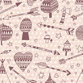 stock photo of wigwams  - Indian seamless pattern made of wigwam - JPG