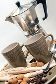 stock photo of time machine  - Espresso dishes and espresso machine with decoration and pastry - JPG