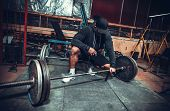 picture of lifting weight  - Powerlifter with strong arms lifting weights - JPG