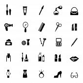 picture of personal care  - vector make up and beauty icons black on white - JPG