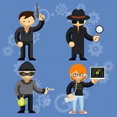 pic of handgun  - Set of colored cartoon vector characters involved in criminal activities with a man wielding a handgun  burglar  detective and hacker - JPG