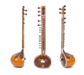 stock photo of shankar  - Sitar a string Traditional Indian musical instrument isolated on white background - JPG