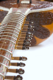 pic of shankar  - Sitar a string Traditional Indian musical instrument close-up ** Note: Shallow depth of field - JPG