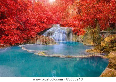 Wonderful Waterfall And Red Leaf In Deep Forest At Erawan Waterfall National Park, Kanjanaburi Thail
