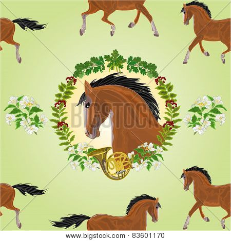 Seamless  Texture Brown  Horse Head Of Stallion Vector