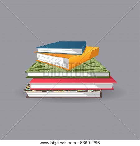 Pile Of Books. Vector Illustration