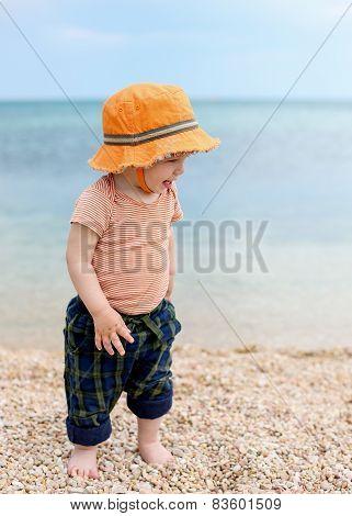 Happy Toddler Boy Walking On The Beach