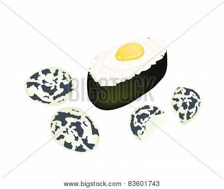 Delicious Raw Quail Sushi On White Background