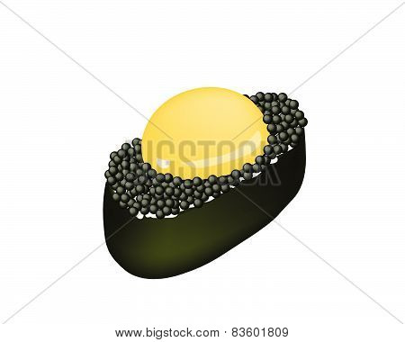 Black Tobiko Sushi With Uzura Or Raw Quail Egg
