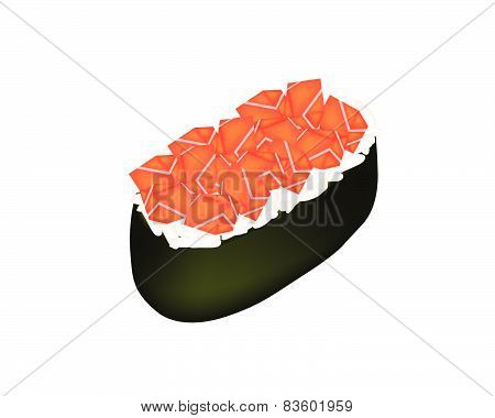 Salmon Sushi Or Salmon Nigiri Isolated On White