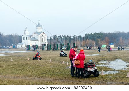 Shrovetide Festivities In Gomel. Rent Of Children's Electric Cars