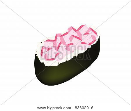 Otoro Sushi Or Otoro Nigiri Isolated On White