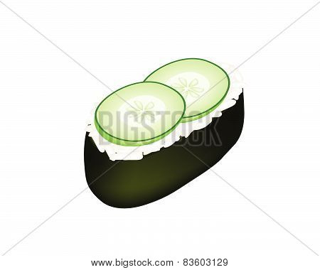 Cucumber Sushi Or Cucumber Nigiri Isolated On White