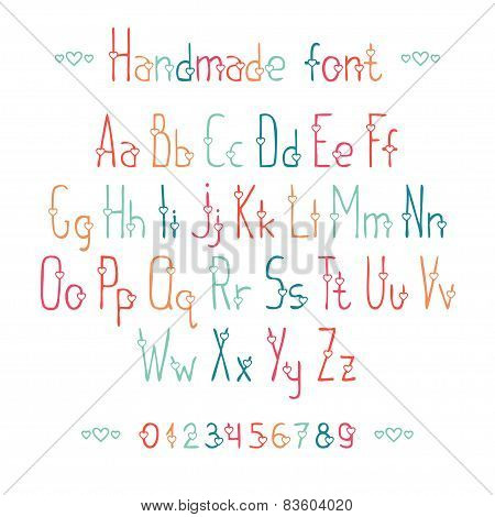 Simple romantic hand drawn font with hearts. Complete abc alphabet set. Vector letters and numbers.