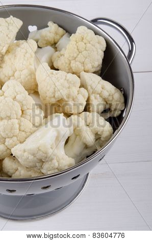 Cauliflower Florets In A Colander