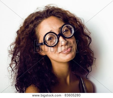 bookworm, cute young woman in glasses, curly hair