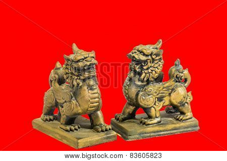 Chinese talisman figurine red background